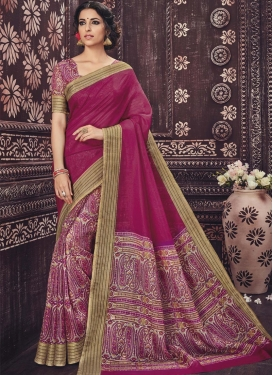 Breathtaking Art Silk Beige and Fuchsia Print Work Half N Half Trendy Saree