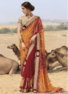 Breathtaking  Bandhej Print Work Half N Half Designer Saree For Ceremonial