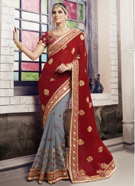 Breathtaking Beads Work Grey and Maroon  Half N Half Trendy Saree