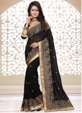 Breathtaking Black Color Stone Work Party Wear Saree