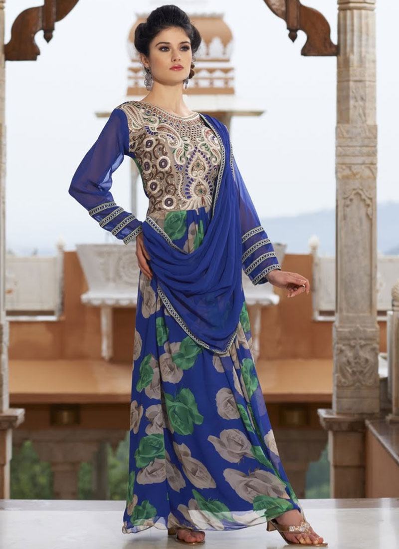 Breathtaking Blue Color Designer Readymade Gown