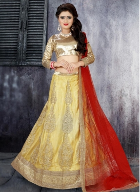 Breathtaking Booti Work Net A - Line Lehenga