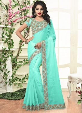 Breathtaking Embroidered Work Faux Chiffon Trendy Saree