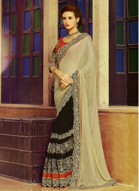 Breathtaking Embroidery And Lace Work Half N Half Designer Saree