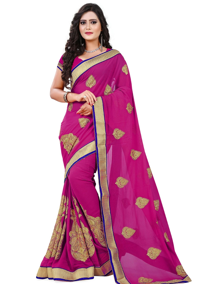 Breathtaking Faux Chiffon Stone Work Party Wear Saree