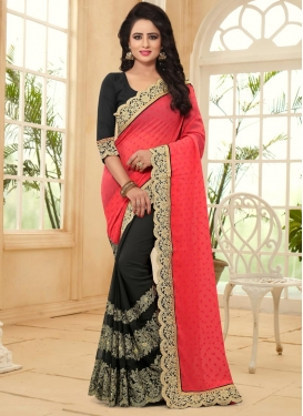 Breathtaking Faux Georgette Black and Tomato Designer Half N Half Saree