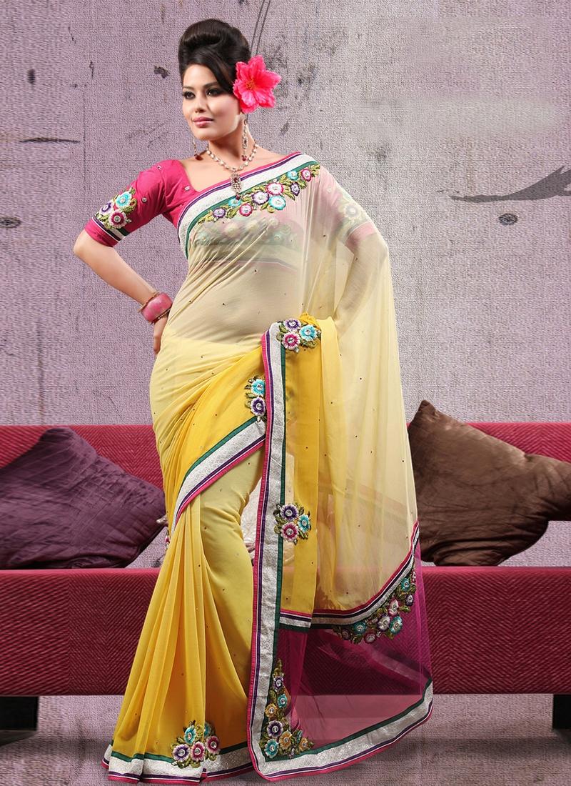 Breathtaking Floral Work Art Silk Party Wear Saree