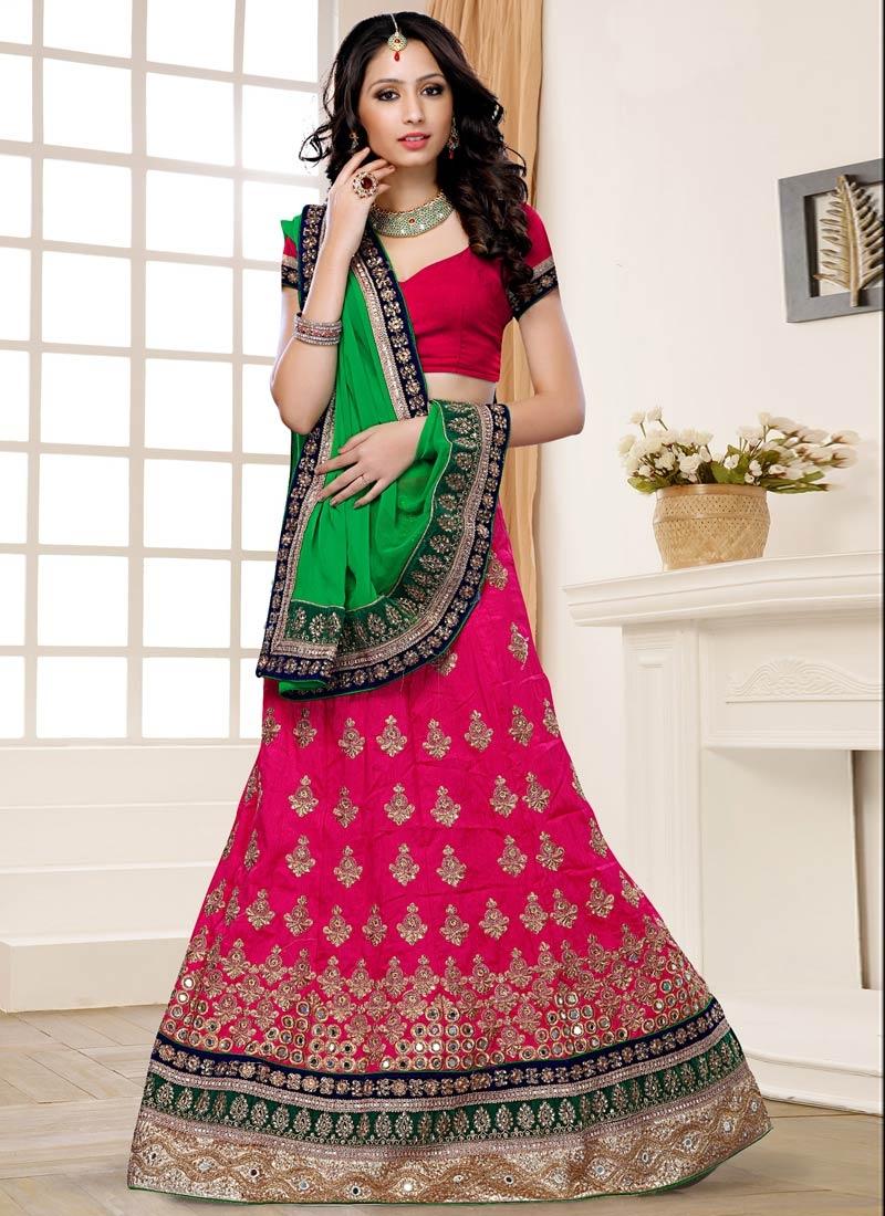 Breathtaking Fuchsia Color Art Silk Designer Lehenga Choli