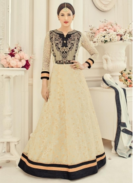 Breathtaking Gauhar Khan Black and Cream Net Floor Length Anarkali Salwar Suit