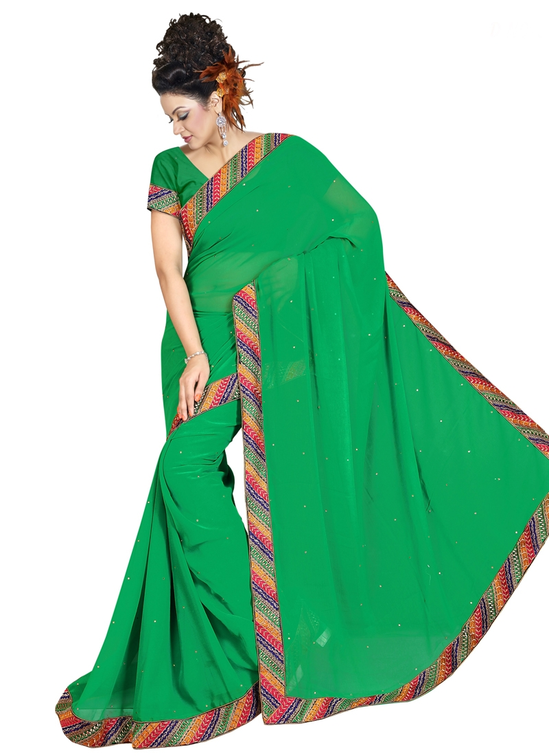 Breathtaking Lace Work And Resham Work Casual Saree