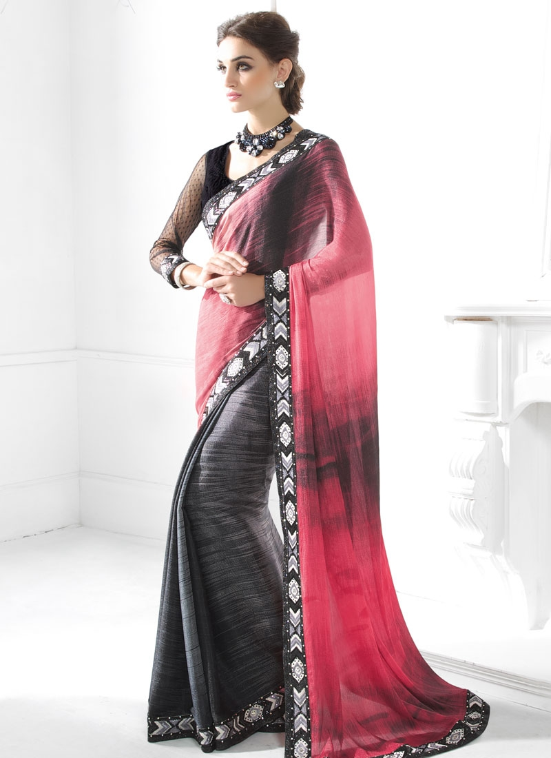 Breathtaking Lace Work Half N Half Party Wear Saree