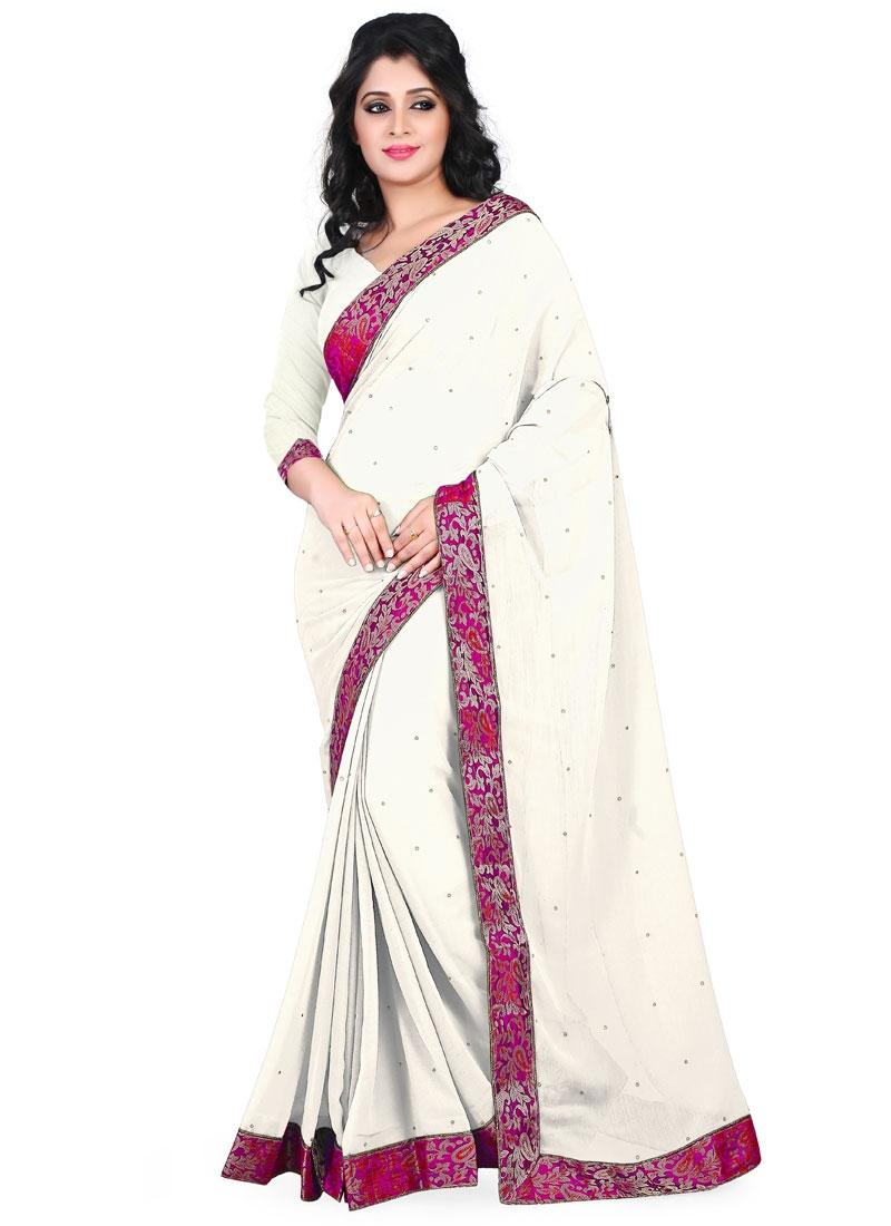 Breathtaking Off White Color Faux Chiffon Casual Saree