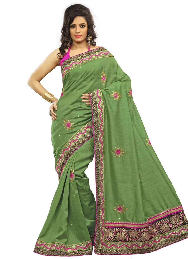 Breathtaking Patch Border Work Olive Color Party Wear Saree