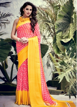 Breathtaking Salmon and Yellow Print Work Trendy Saree