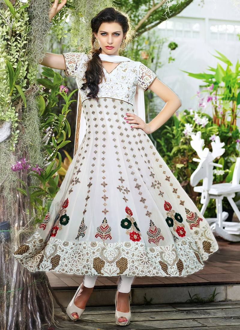 Breathtaking White Anarkali Salwar Kameez