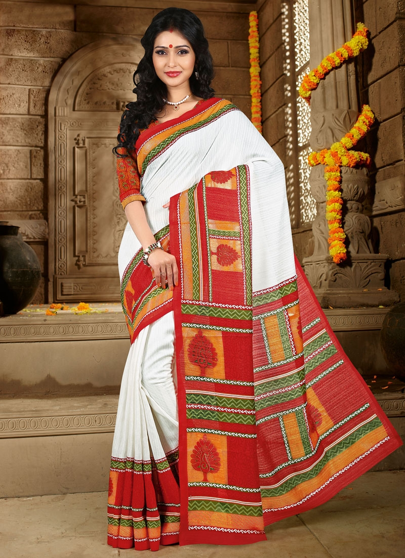 Breathtaking White And Red Color Casual Saree