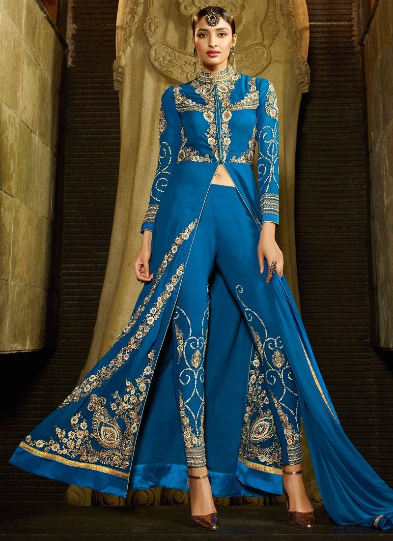 Brilliant Blue Color Pant Style Designer Salwar Kameez