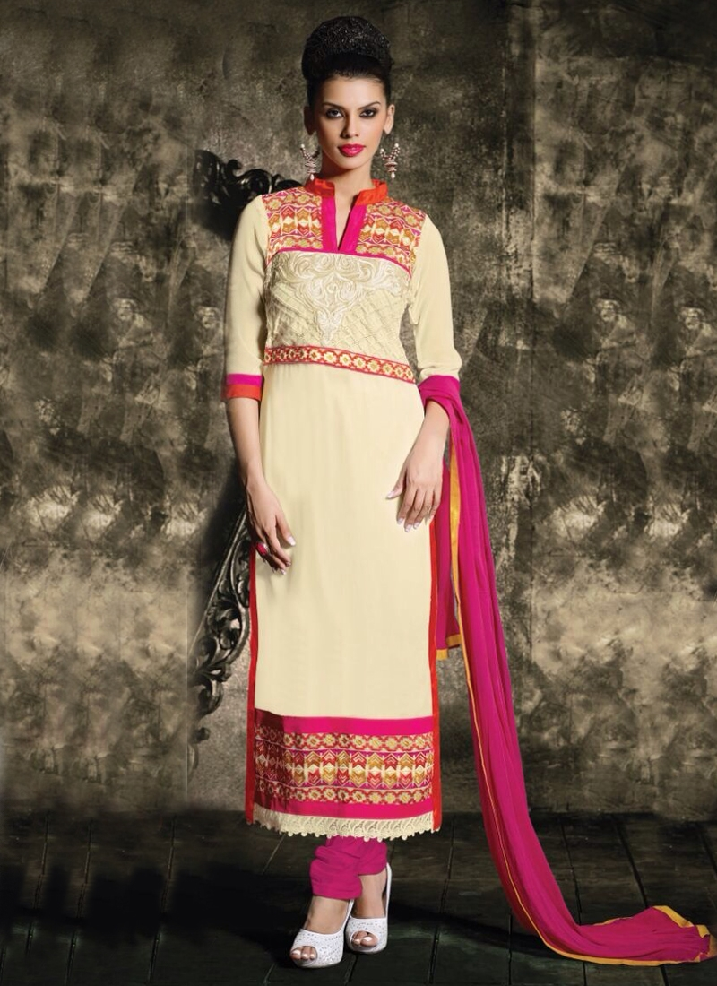 Brilliant Cream Color Resham Work Party Wear Salwar Suit