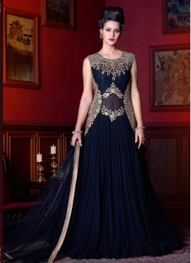 Brilliant Embroidered Work Pure Georgette Long Length Designer Suit