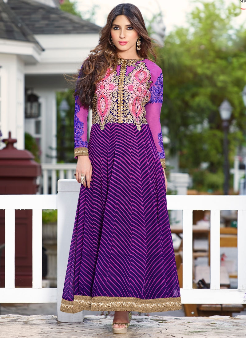 Brilliant Faux Georgette Long Length Anarkali Salwar Kameez