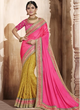 Brilliant  Mustard and Rose Pink Half N Half Saree For Ceremonial