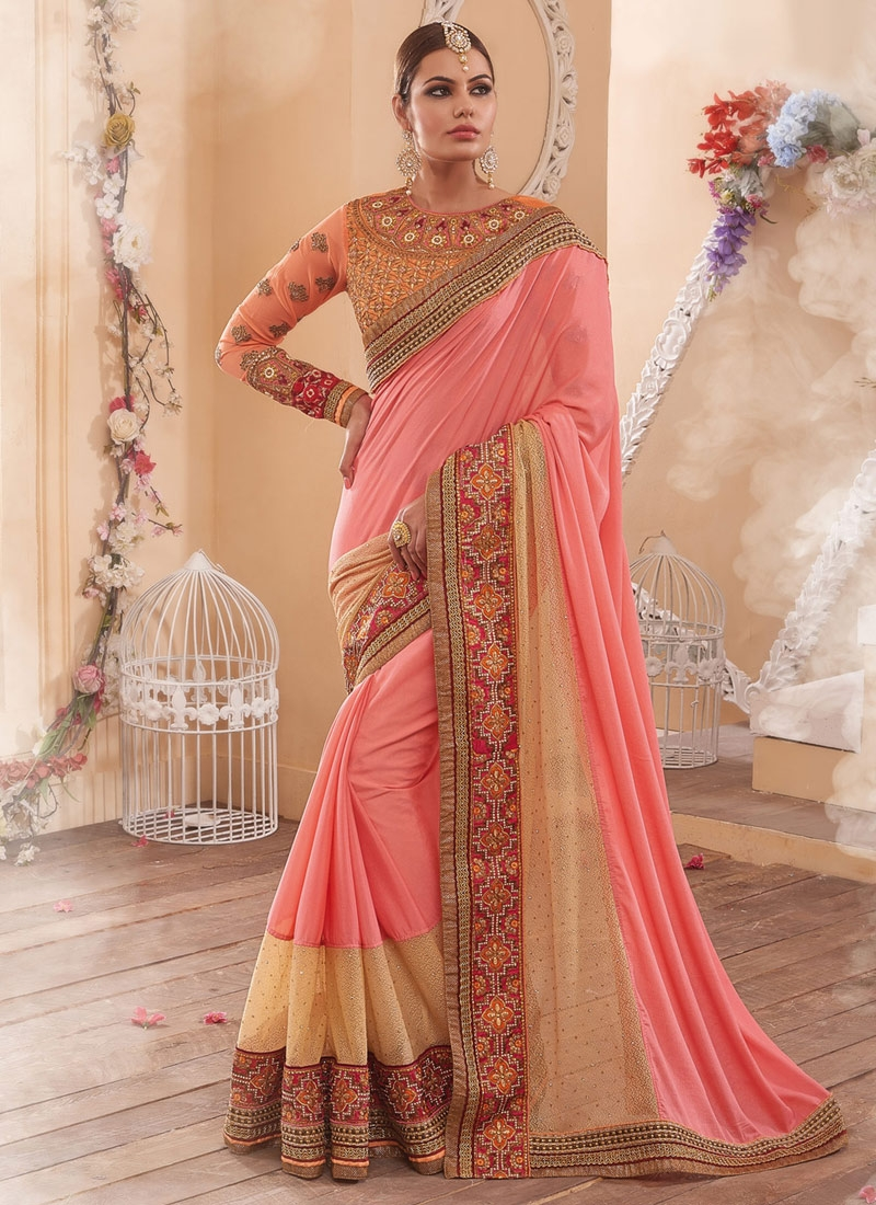 Brilliant Patch Border Work Chiffon Satin Wedding Saree
