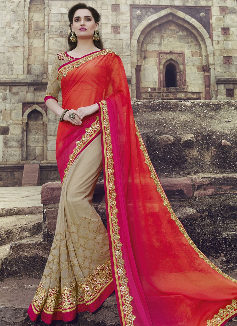 Brilliant Red And Beige Color Half N Half Wedding Saree