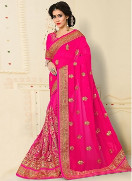 Brilliant Rose Pink Net Booti Work Traditional Designer Saree