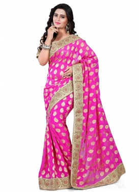 Brilliant Viscose Lace Work Designer Saree