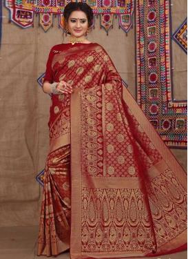 Brocade Contemporary Style Saree For Ceremonial
