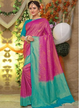Brocade Fuchsia and Turquoise Thread Work Traditional Saree