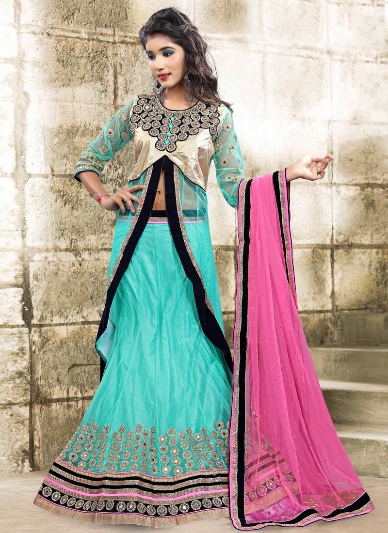 de5b72f696 Shop Brocade Pink and Turquoise Embroidered Work Long Choli Lehenga ...