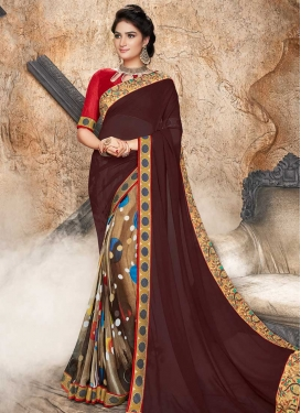Brown and Coffee Brown Embroidered Work Half N Half Saree
