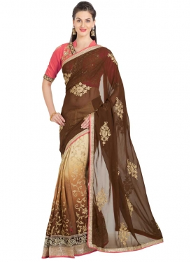 Brown and Cream Booti Work Half N Half Trendy Saree