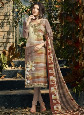 Brown and Cream Crepe Silk Trendy Churidar Salwar Kameez