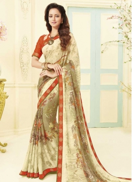 Brown and Cream Designer Contemporary Style Saree