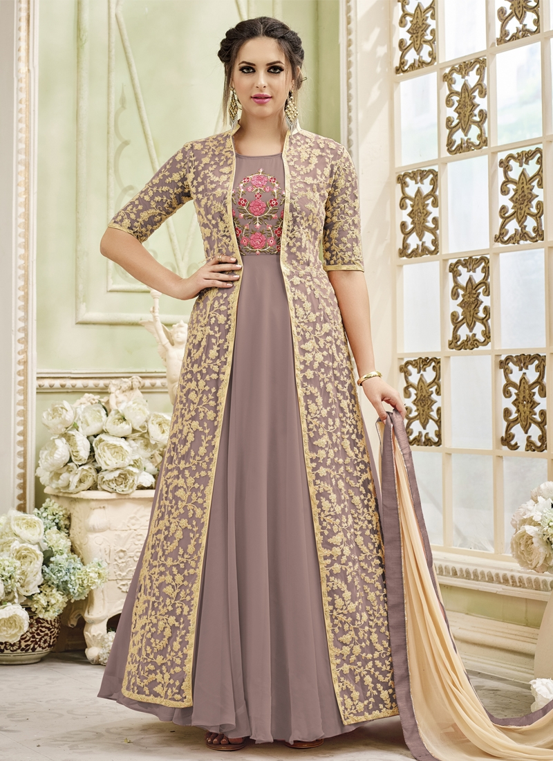 Brown and Cream Jacket Style Long Length Suit For Party