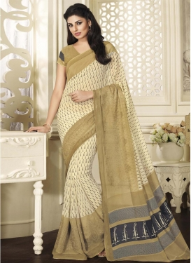 Brown and Cream Print Work Contemporary Saree