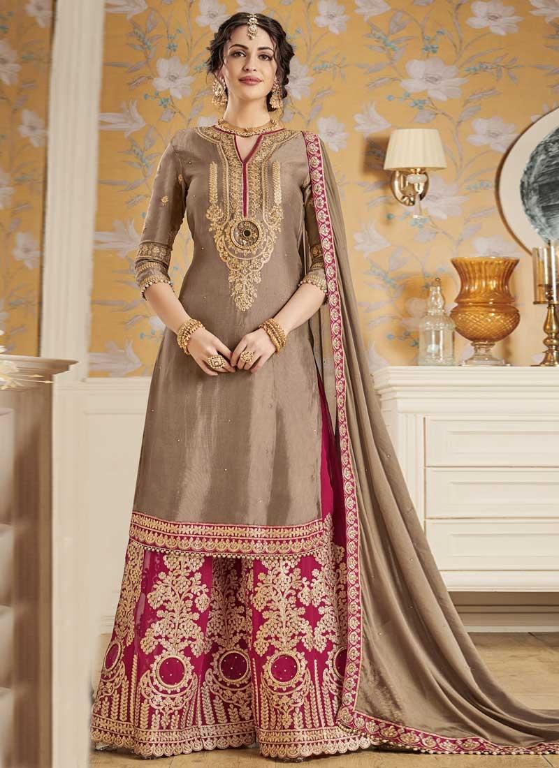 efc4339dd3 Buy Brown and Crimson Faux Georgette Sharara Salwar Kameez Online