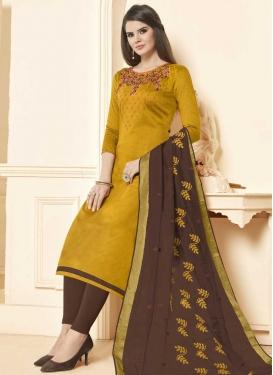 Brown and Gold Beads Work Churidar Salwar Kameez