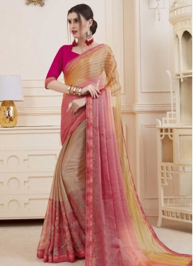 Brown and Gold Digital Print Work Designer Contemporary Saree