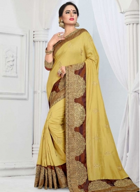 Brown and Gold Embroidered Work Classic Saree