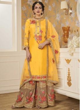 Brown and Gold Faux Georgette Sharara Salwar Kameez