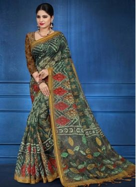 Brown and Green Designer Contemporary Style Saree