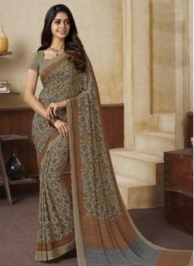 Brown and Grey Print Work Crepe Silk Classic Saree