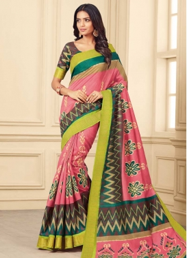 Brown and Hot Pink Contemporary Saree For Casual