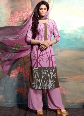 Brown and Hot Pink Palazzo Straight Salwar Suit