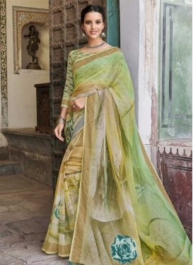 Brown and Mint Green Contemporary Saree