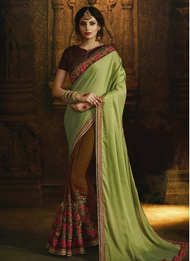 Brown and Mint Green Half N Half Designer Saree