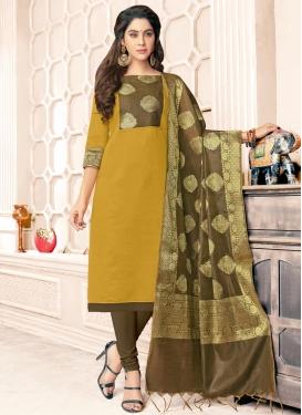 Brown and Mustard Banarasi Silk Churidar Salwar Suit